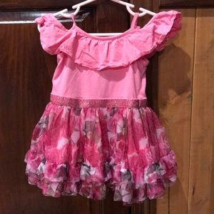 Twins!! Beautiful pink with rose print dress.